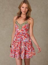 $118 Free People sz XS Tiered Beaded Embellished Boho Floral Mini Slip Dress