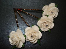 6 BIG IVORY FLOWER & CRYSTAL HAIR GRIPS/PINS WEDDING/PROM