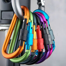 5X Aluminum Carabiner D-Ring Clip Hook Camping Keychain Screwgate Screw LockingL