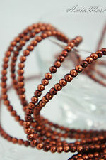 225PCS 4MM Glass Pearl Bordeaux Color Round DIY Imitation Loose Pearl Beads