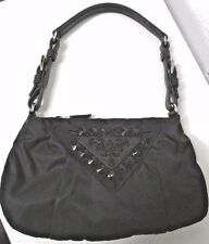 PRADA Black Pleated Nylon Evening Bag w/ Beaded Triangle & Leather Buckle Strap
