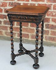 Antique French Oak Renaissance Revival Barley Twist PETITE Tea Wine End Table