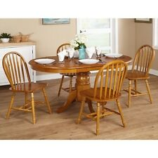 Elegant Dining Set Kitchen Table 5 Piece Oak Country Farmhouse Furniture Chairs