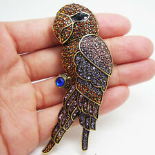 Vintage Classic Brown Parrot Bird Brooch Pin Rhinestone Crystal Gold-Tone