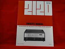 McIntosh MC 2120 Amplifier Owners Manual