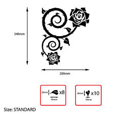 2x Corner Rose Swirl With Loose Leaves Vinyl Wall Sticker Living Room Decal S5