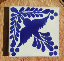 """10 Talavera Mexican 4"""" TILE tiles pottery hand painted BIRD Blue White leaves"""