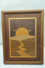VINTAGE MARQUETRY WALL HANGING ART WORK WOOD INLAY INLAID ORNATE PICTURE PLAQUE