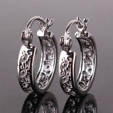 18k white gold filled hollow design lovely lady hoop earring