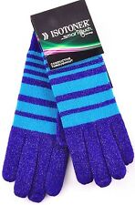 $34 Isotoner SmarTouch Conductive Throughout Striped Gloves Women's Purple OS
