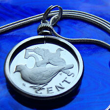 "Zenaida Doves 1973 Virigin Islands Proof Coin Pendant on a 30"" .925 Silver Chain"