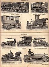 ca 1895 Antique Original Lithograph Plate Meyer CAR STRUCTURE MOTORWAGEN Omnibus