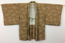 Silk crepe authentic Japanese brown haori jacket for Kimono, with himo (I969)