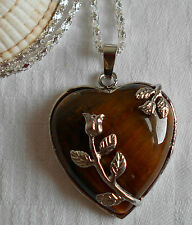 Unique lovely tiger`s eye heart gemstone pendant silver plated necklace flowers