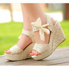 Women Summer Wedge Platform Sandals Bowknot Ankle Strap Shoes Lace High Heels