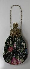 Glass Beaded Pouch Bag Purse Fancy Filigree Frame