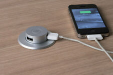 Worktop Pop Up Double USB Charger Phones, Tablets Silver Office, Kitchen Worktop