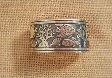 James Avery Sterling Silver Retired Rare Wide Fish Shell Coral Cuff Bracelet