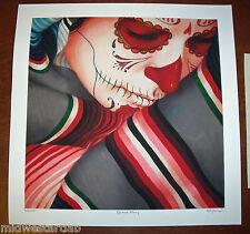 Sylvia Ji Serape Grey Art Print Poster S/# 100 w COA Día de Muertos Day of Dead
