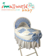 Personalised Blue Star Patchwork Moses Basket Cover Set With Skirt