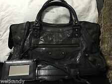 Authentic BALENCIAGA Anthracite Grey Part Time Classic Hardware Bigger Than City
