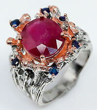 Elegant 9ct Ruby 925 Sterling Silver Ring Size 7