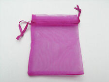 20pcs Magenta Jewelry Mini Packing Drawstring Pouches Organza Gift Bags 8x10cm