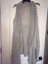 NEW Vertigo Paris Light Gray Women's XL Long Open Vest W/ Lace Trim