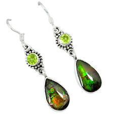 925 silver natural ammolite (canadian) peridot dangle earrings jewelry j46291