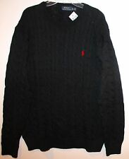 Polo Ralph Lauren Big and Tall Mens Black Cableknit Cotton Sweater NWT $125 XLT