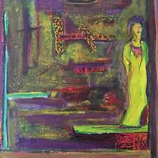 Mid Century Surrealist Figural Abstract Mixed Media Painting