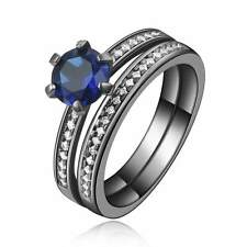 2Pcs Size 10 Cute Blue Sapphire 10K Black Gold Filled Women's Wedding Ring Sets