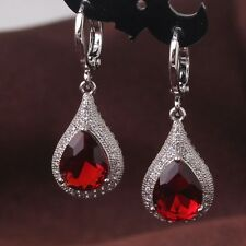 Your valued choice! 18k white gold filled noble garnet attractive earring