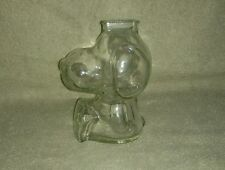 "Vintage Anchor Hocking Peanuts Snoopy Clear Glass 6"" Coin Money Bank EUC"