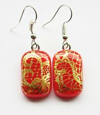 Genuine Hand Crafted Dichroic Glass Earrings - Gold Lace on Red