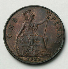 1927 UK (British) George V Coin - One Penny (1d) - high grade with trace lustre