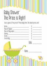 Baby Shower Game - The Price is Right - Set of 16