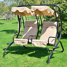 Outdoor Patio Swing Canopy 2 Person Seat Hammock Bench Yard Furniture Loves