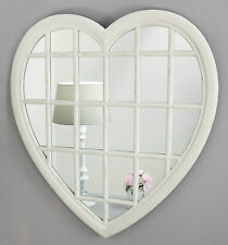 "Rossi Vintage White Shabby Chic Heart Window Wall Mirror 36"" x 34"" V Large"