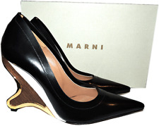$990 MARNI Sculpted Wedge Black leather Pump Pointy Toe Shoe 39- 8.5