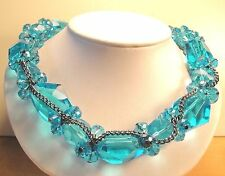 Vintage 70's Large Chunky Aqua Ice Blue Glass Crystal Cluster Bead Necklace