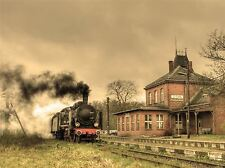 OLD RETRO STEAM TRAIN LOCOMOTIVE ENGINE PHOTO ART PRINT POSTER PICTURE BMP030A