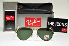NEW Authentic Ray Ban RB3025 001/58 58mm POLARIZED AVIATOR Gold Frame/Green Lens