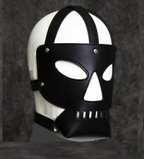 Leather Strape Head Hood, Dungeon Night Bondage Fetish Halloween Party Mask