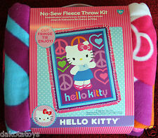 HELLO KITTY PEACE &  LOVE PRINT FLEECE TIE BLANKET KIT NEW EASY DIRECTIONS