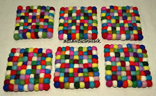 TM2 Hand Craft wool Felt Ball pom pom bead gift Square 1pc Tea coaster mat Nepal