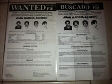 ENG/SPANISH NOTORIOUS DRUGLORD JUAN GARCIA ABREGO FBI WANTED POSTERS *PLS OFFER*