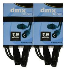 2 x DMX Kabel 1,5m , XLR 3-pol. male-female  für 110 Ohm Anwendung