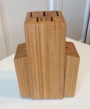 Crate and Barrel Bamboo Wood Upright Standing Knife Block Beautiful! 11 Slot