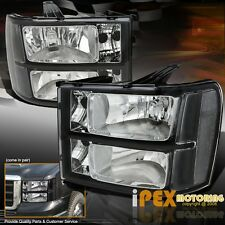 New For All 2007-2013 GMC Sierra 1500 2500HD 3500HD Black Headlights Headlamps